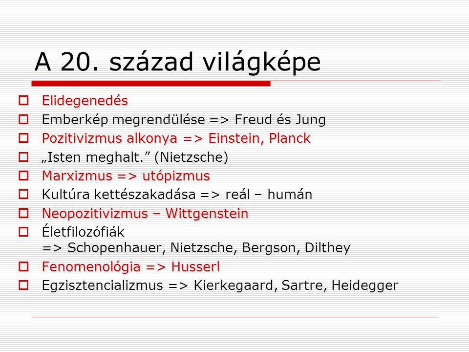 """A 20. század világképe  Elidegenedés  Emberkép megrendülése => Freud és Jung  Pozitivizmus alkonya => Einstein, Planck  """"Isten meghalt."""" (Nietzsch"""