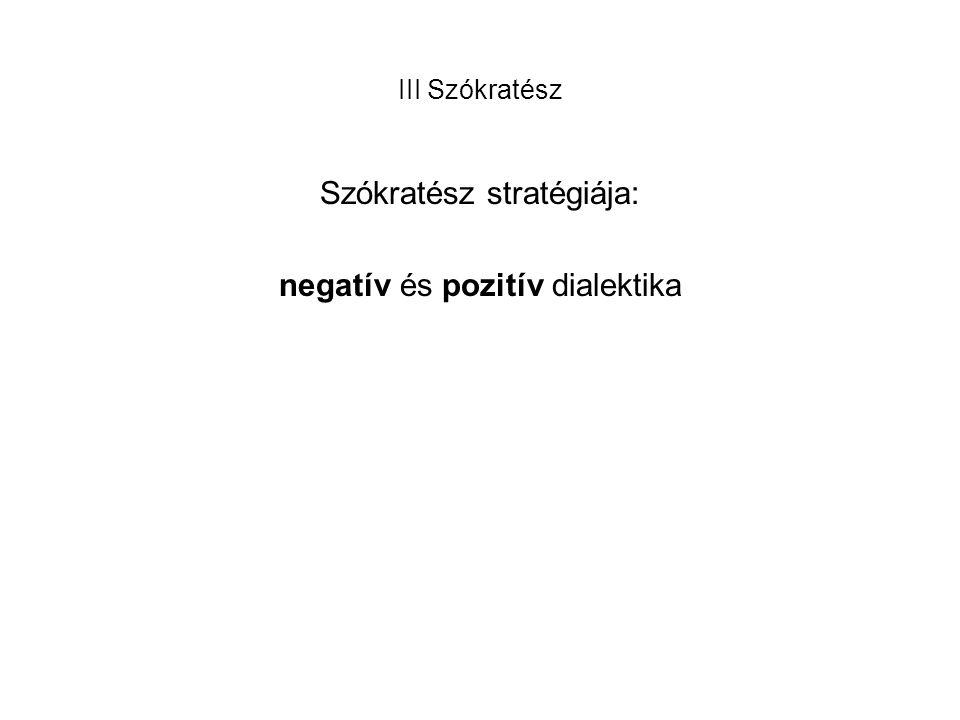 III Szókratész Szókratész stratégiája: negatív és pozitív dialektika