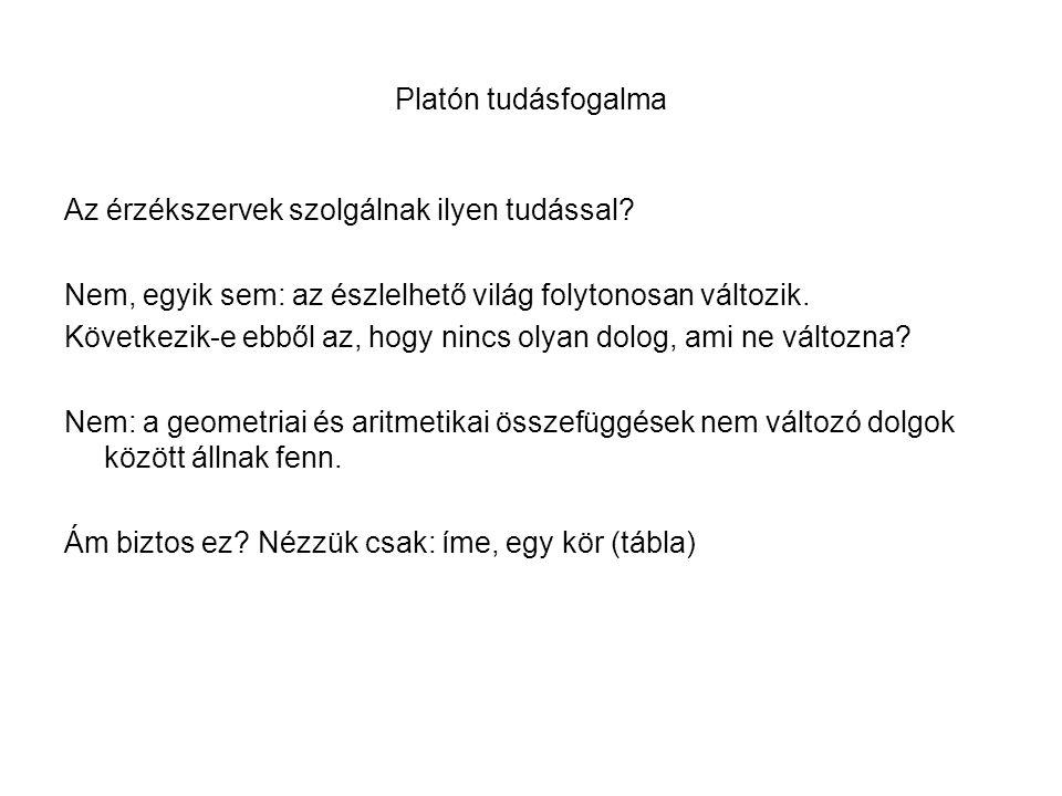 Platón tudásfogalma Az érzékszervek szolgálnak ilyen tudással.