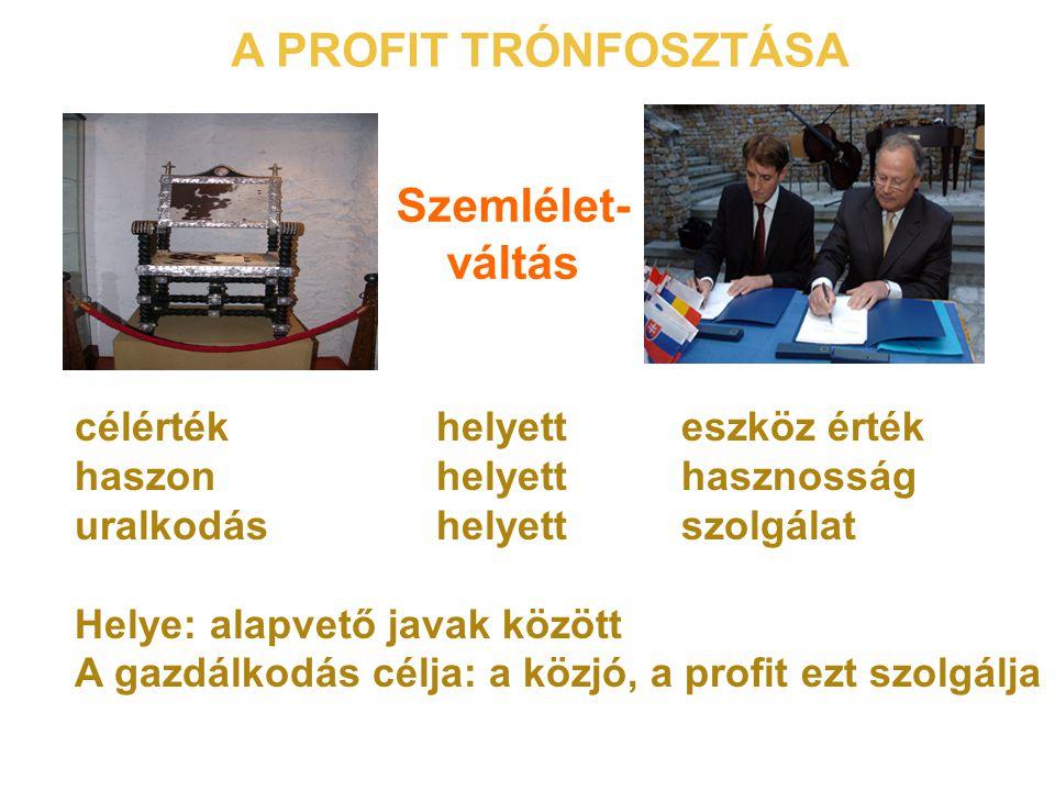 A PROFIT TRÓNFOSZTÁSA Szemlélet- váltás célérték helyett eszköz érték haszon helyett hasznosság uralkodás helyett szolgálat Helye: alapvető javak között A gazdálkodás célja: a közjó, a profit ezt szolgálja