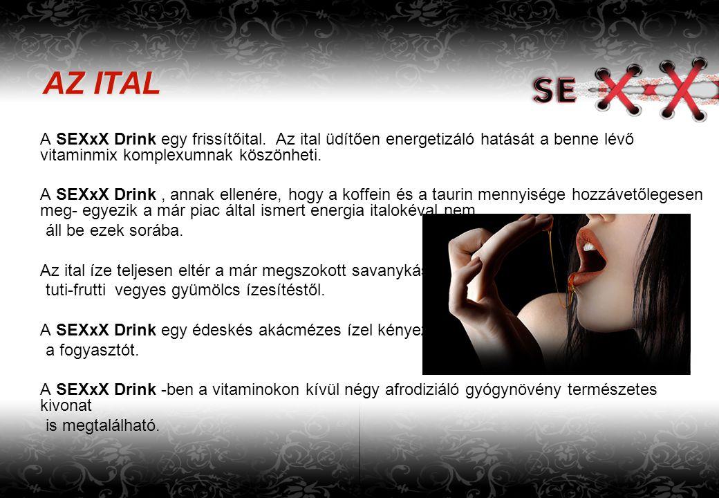 AZ ITAL A SEXxX Drink egy frissítőital. Az ital üdítően energetizáló hatását a benne lévő vitaminmix komplexumnak köszönheti. A SEXxX Drink, annak ell