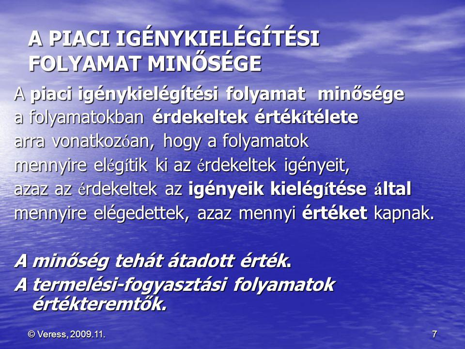 © Veress, 2009.11.8 A PIACI MINŐSÉG ALAPFOGALMAI : ÉRTÉKREND, IGÉNY, ÉRTÉK, MINŐSÉG • Az ÉRDEKELTEKNEK igényeik vannak.
