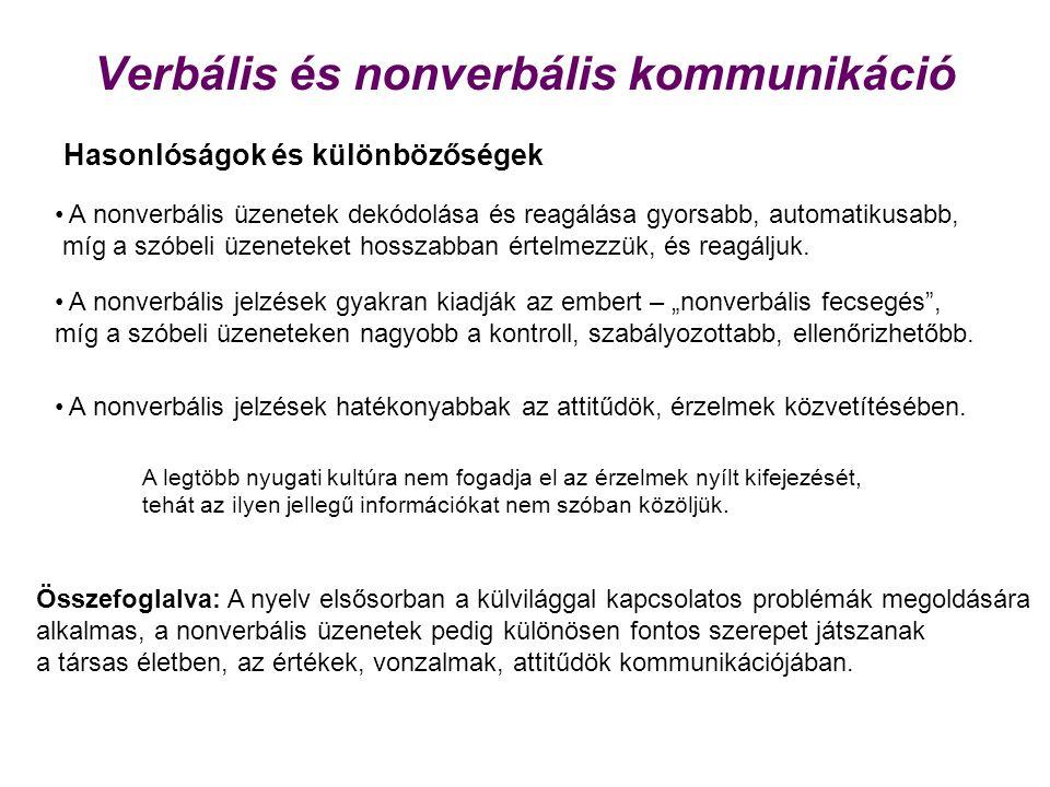 Verbális és nonverbális kommunikáció Hasonlóságok és különbözőségek • A nonverbális üzenetek dekódolása és reagálása gyorsabb, automatikusabb, míg a s