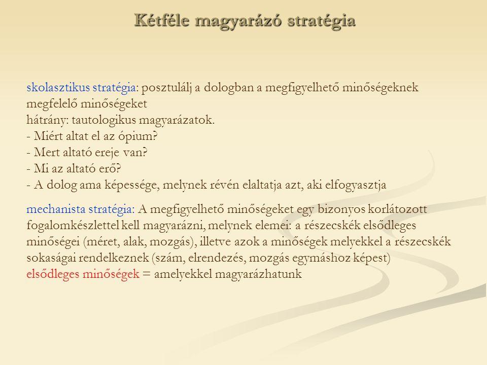 skolasztikus stratégia: posztulálj a dologban a megfigyelhető minőségeknek megfelelő minőségeket hátrány: tautologikus magyarázatok.