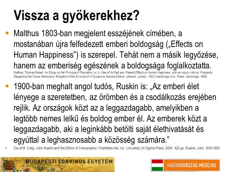 """Vissza a gyökerekhez?  Malthus 1803-ban megjelent esszéjének címében, a mostanában újra felfedezett emberi boldogság (""""Effects on Human Happiness"""") i"""