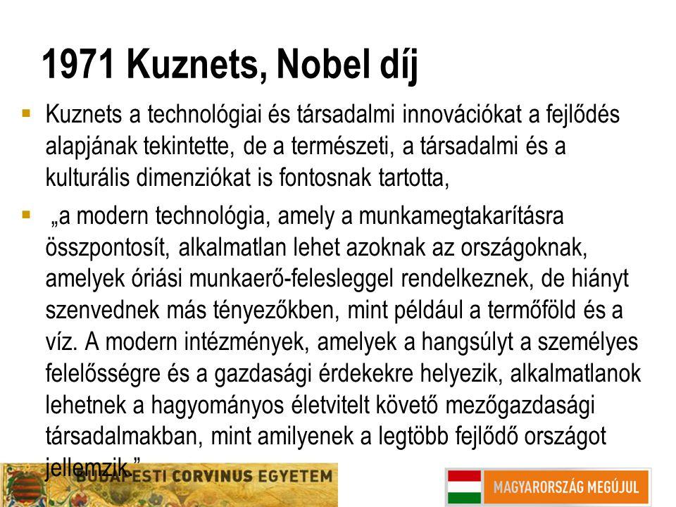 1971 Kuznets, Nobel díj  Kuznets a technológiai és társadalmi innovációkat a fejlődés alapjának tekintette, de a természeti, a társadalmi és a kultur