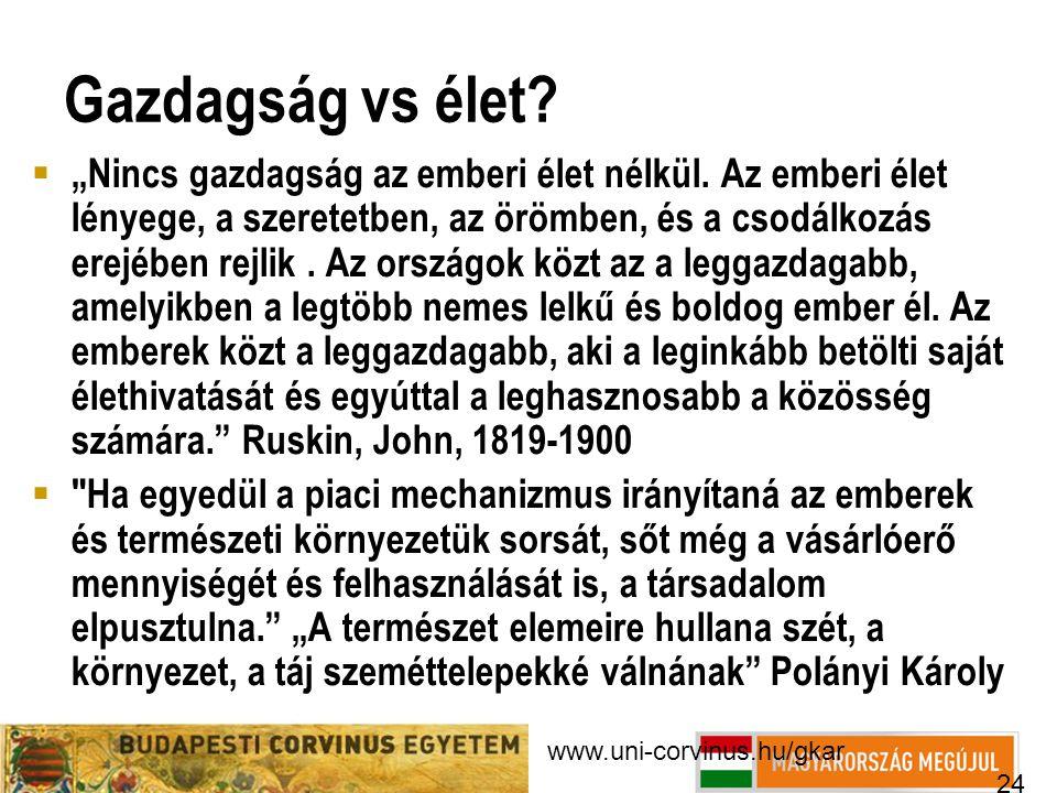 """www.uni-corvinus.hu/gkar 24 Gazdagság vs élet?  """"Nincs gazdagság az emberi élet nélkül. Az emberi élet lényege, a szeretetben, az örömben, és a csodá"""
