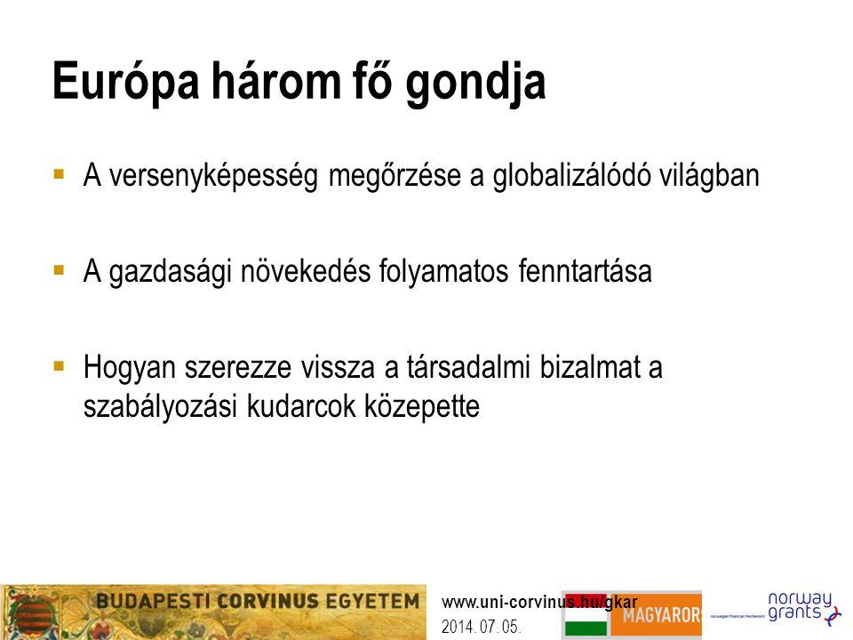 2014. 07. 05. Európa három fő gondja  A versenyképesség megőrzése a globalizálódó világban  A gazdasági növekedés folyamatos fenntartása  Hogyan sz
