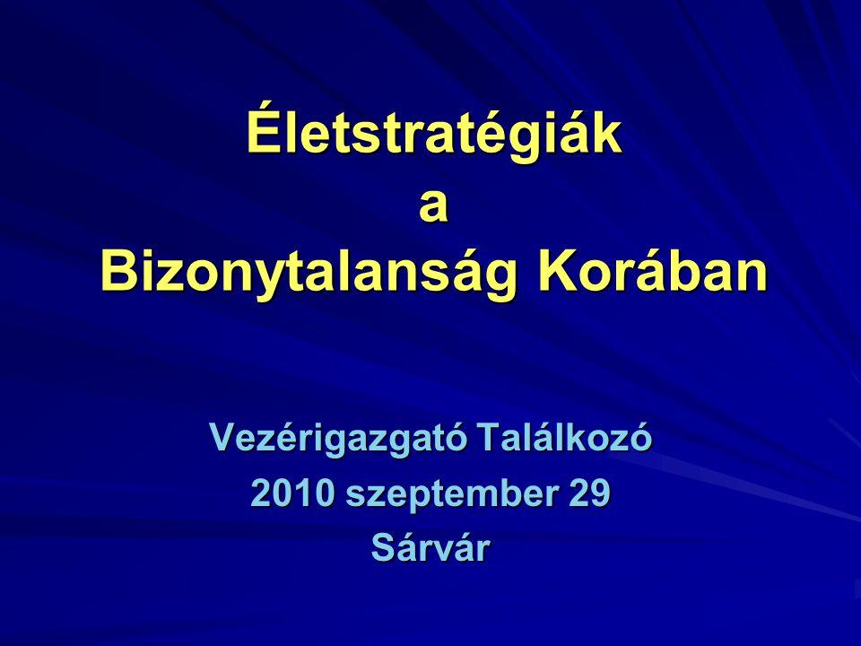 Életstratégiák a Bizonytalanság Korában Vezérigazgató Találkozó 2010 szeptember 29 Sárvár