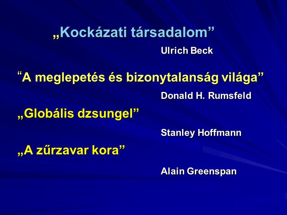 """""""Kockázati társadalom"""" """"Kockázati társadalom"""" Ulrich Beck """" A meglepetés és bizonytalanság világa"""" Donald H. Rumsfeld """"Globális dzsungel"""" Stanley Hoff"""