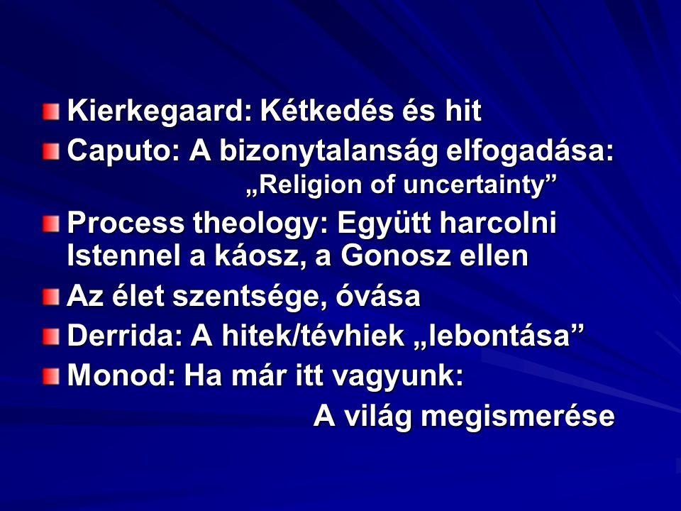 """Kierkegaard: Kétkedés és hit Caputo: A bizonytalanság elfogadása: """"Religion of uncertainty Process theology: Együtt harcolni Istennel a káosz, a Gonosz ellen Az élet szentsége, óvása Derrida: A hitek/tévhiek """"lebontása Monod: Ha már itt vagyunk: A világ megismerése"""
