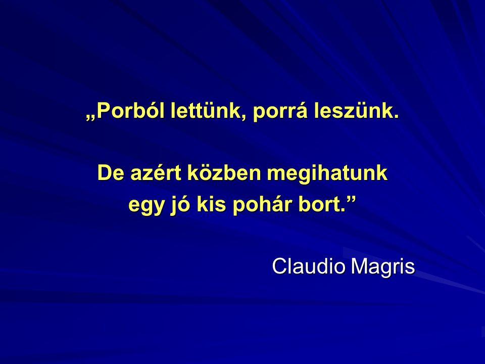 """""""Porból lettünk, porrá leszünk. De azért közben megihatunk egy jó kis pohár bort."""" Claudio Magris"""