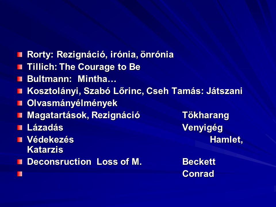 Rorty: Rezignáció, irónia, önrónia Tillich: The Courage to Be Bultmann: Mintha… Kosztolányi, Szabó Lőrinc, Cseh Tamás: Játszani Olvasmányélmények Magatartások, RezignációTökharang LázadásVenyigég VédekezésHamlet, Katarzis Deconsruction Loss of M.Beckett Conrad