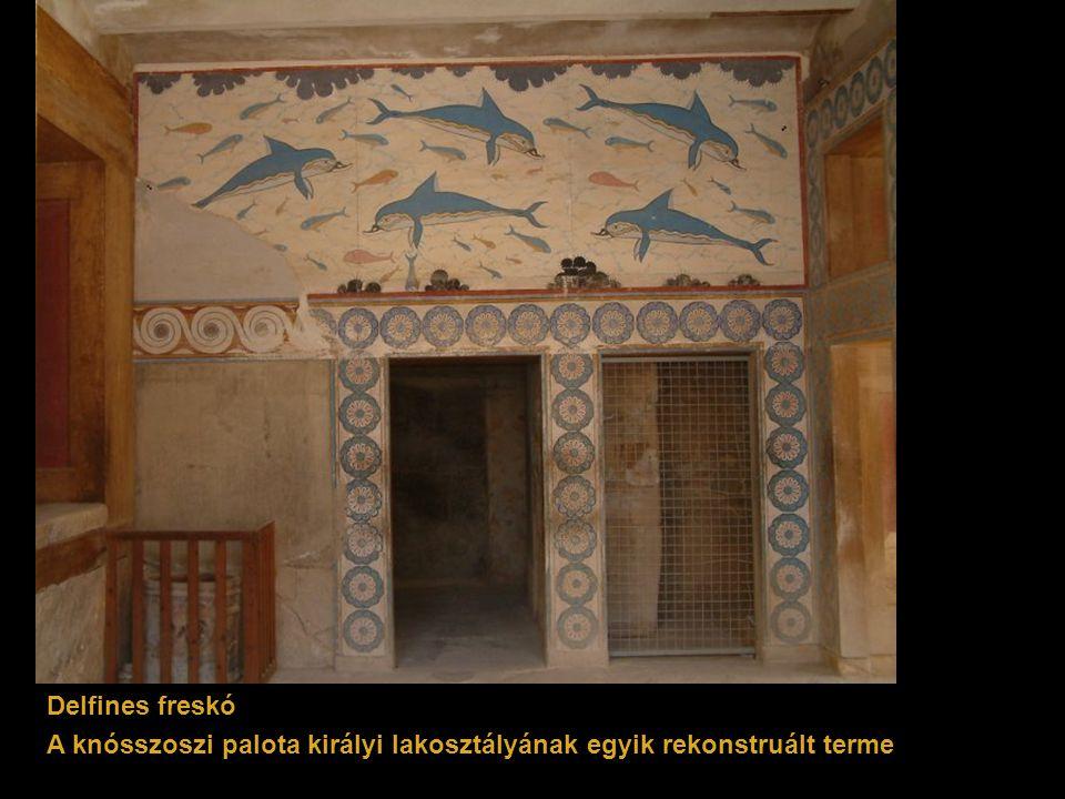 Delfines freskó A knósszoszi palota királyi lakosztályának egyik rekonstruált terme
