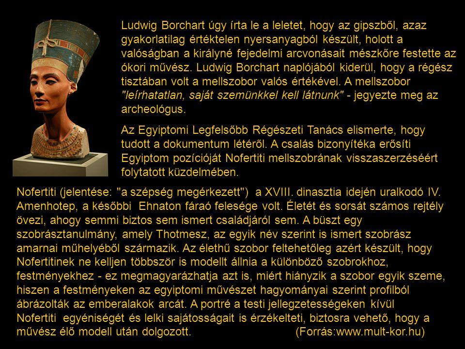 Ludwig Borchart úgy írta le a leletet, hogy az gipszből, azaz gyakorlatilag értéktelen nyersanyagból készült, holott a valóságban a királyné fejedelmi