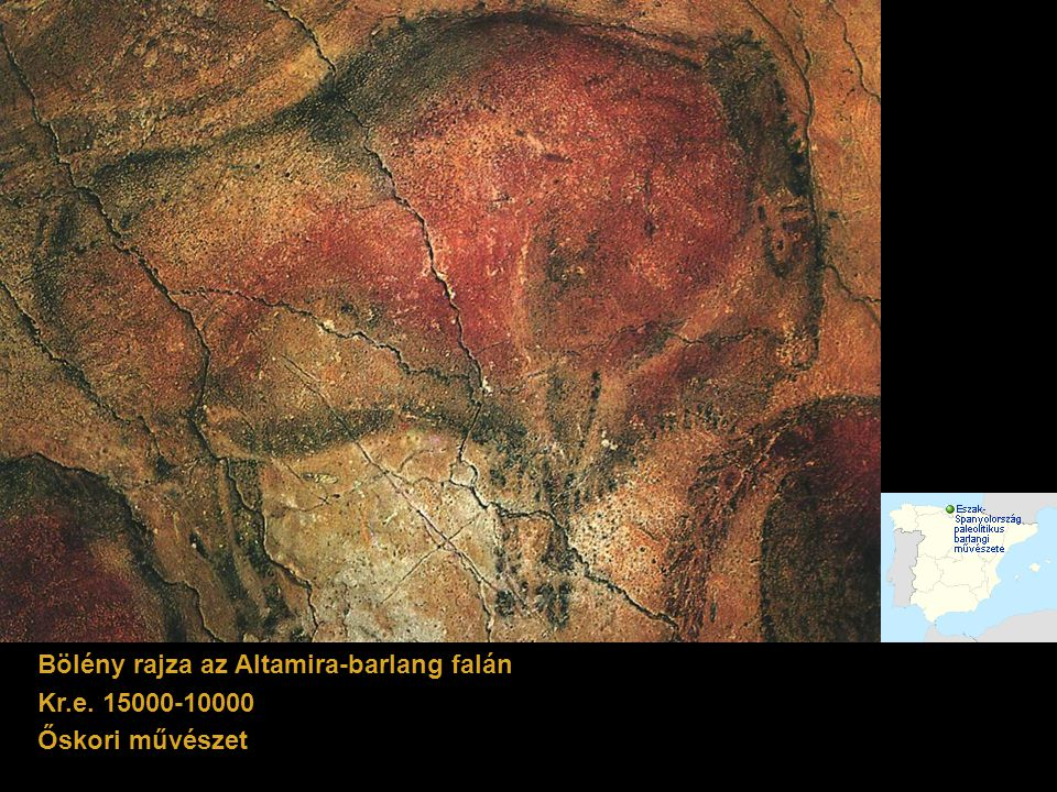 Bölény rajza az Altamira-barlang falán Kr.e. 15000-10000 Őskori művészet