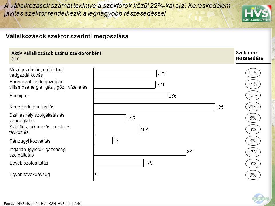 15 Forrás:HVS kistérségi HVI, KSH, HVS adatbázis Vállalkozások szektor szerinti megoszlása A vállalkozások számát tekintve a szektorok közül 22%-kal a(z) Kereskedelem, javítás szektor rendelkezik a legnagyobb részesedéssel Aktív vállalkozások száma szektoronként (db) Mezőgazdaság, erdő-, hal-, vadgazdálkodás Bányászat, feldolgozóipar, villamosenergia-, gáz-, gőz-, vízellátás Építőipar Kereskedelem, javítás Szálláshely-szolgáltatás és vendéglátás Szállítás, raktározás, posta és távközlés Pénzügyi közvetítés Ingatlanügyletek, gazdasági szolgáltatás Egyéb szolgáltatás Egyéb tevékenység Szektorok részesedése 11% 22% 6% 8% 17% 9% 0% 13% 3%