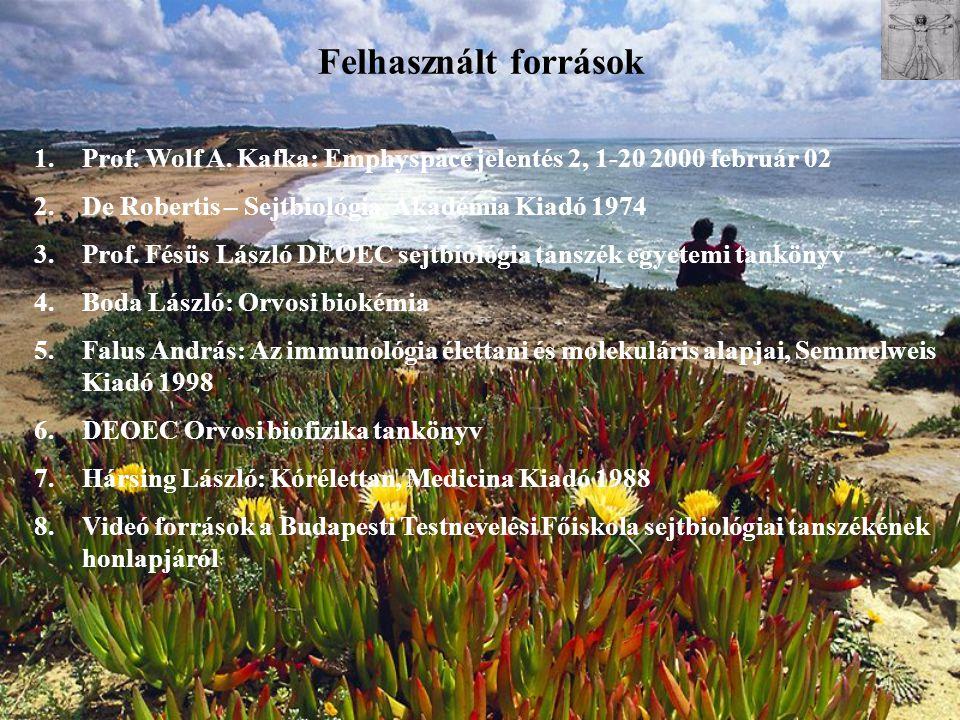 Felhasznált források 1.Prof. Wolf A. Kafka: Emphyspace jelentés 2, 1-20 2000 február 02 2.De Robertis – Sejtbiológia, Akadémia Kiadó 1974 3.Prof. Fésü