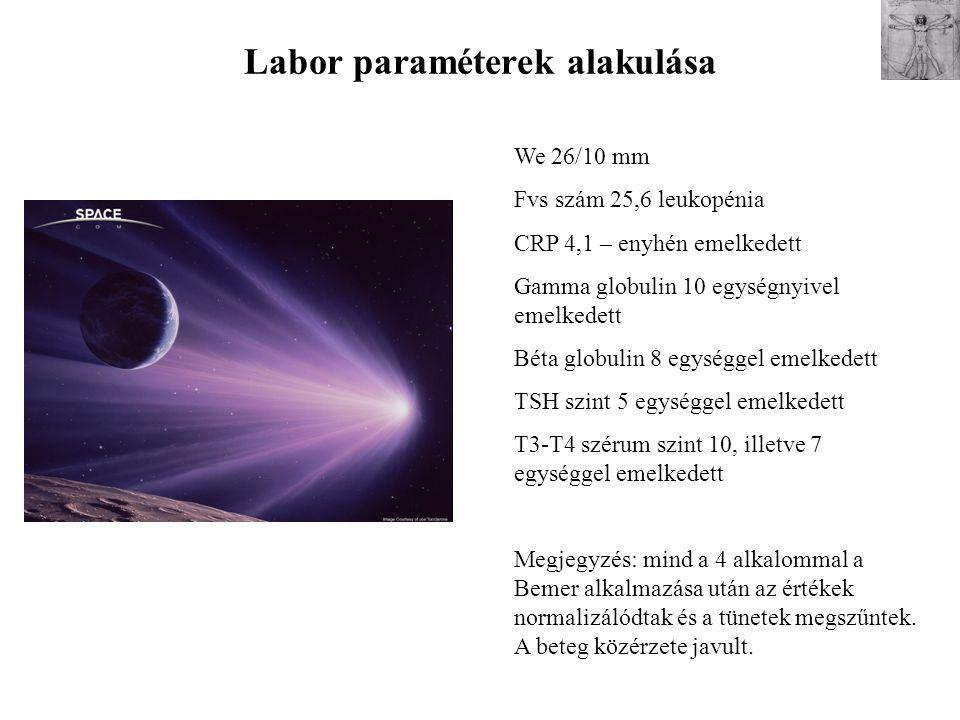Labor paraméterek alakulása We 26/10 mm Fvs szám 25,6 leukopénia CRP 4,1 – enyhén emelkedett Gamma globulin 10 egységnyivel emelkedett Béta globulin 8