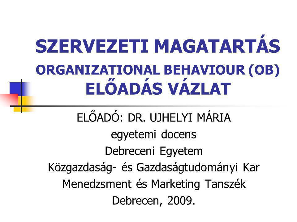 MANAGEMENT BY OBJECTIVES (MBO)  Az általános szervezeti célokat lebontja a szervezeti egységek és egyének speciális céljaira  Alkotórészei:  Speciális célok  Részvétel a döntéshozatalban  Világos idő keret  Teljesítmény visszajelzés