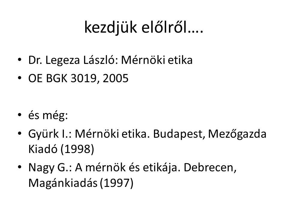 kezdjük előlről…. • Dr. Legeza László: Mérnöki etika • OE BGK 3019, 2005 • és még: • Gyürk I.: Mérnöki etika. Budapest, Mezőgazda Kiadó (1998) • Nagy