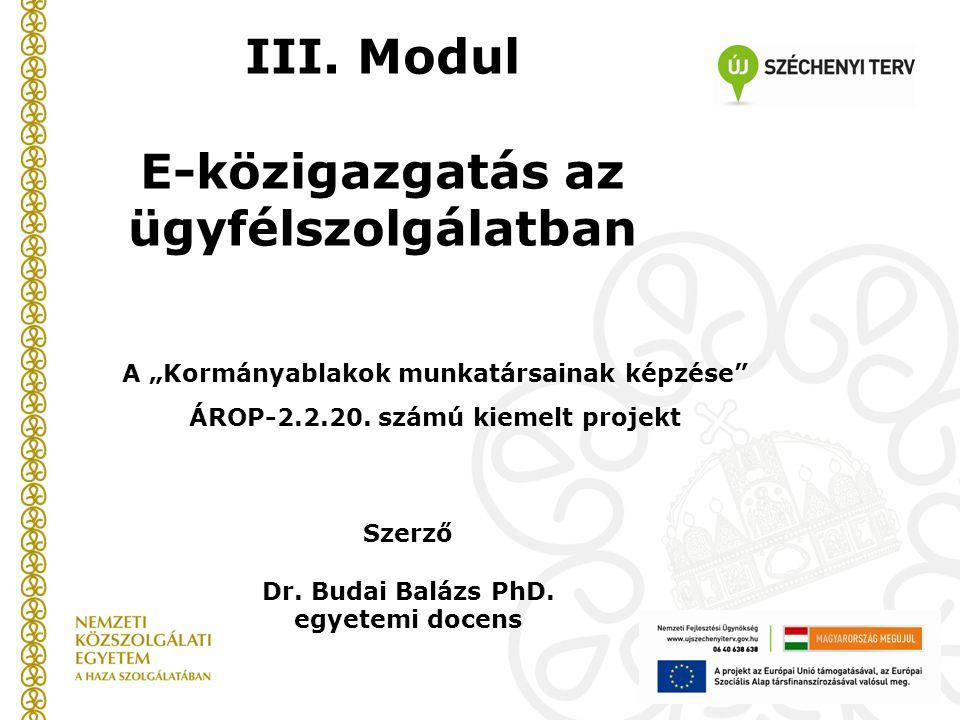 Szerző Dr.Budai Balázs PhD. egyetemi docens III.