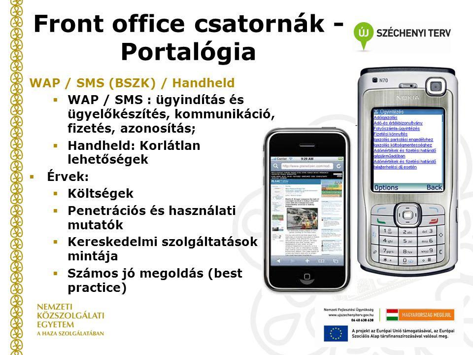 WAP / SMS (BSZK) / Handheld  WAP / SMS : ügyindítás és ügyelőkészítés, kommunikáció, fizetés, azonosítás;  Handheld: Korlátlan lehetőségek  Érvek:  Költségek  Penetrációs és használati mutatók  Kereskedelmi szolgáltatások mintája  Számos jó megoldás (best practice) Front office csatornák - Portalógia