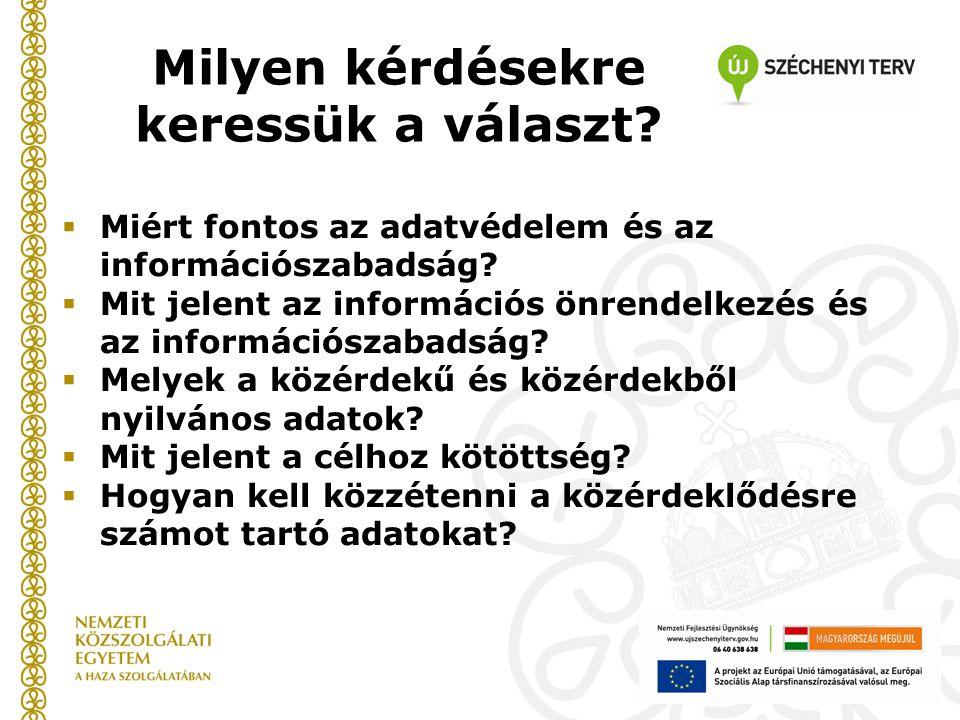 Milyen kérdésekre keressük a választ. Miért fontos az adatvédelem és az információszabadság.