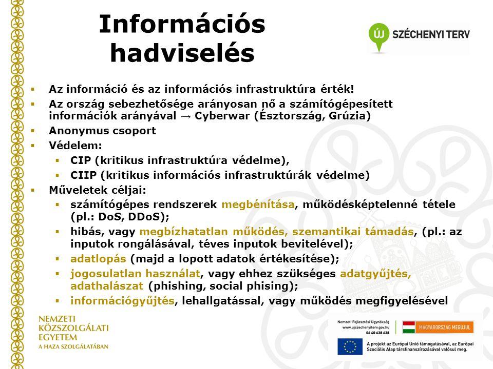 Információs hadviselés  Az információ és az információs infrastruktúra érték.