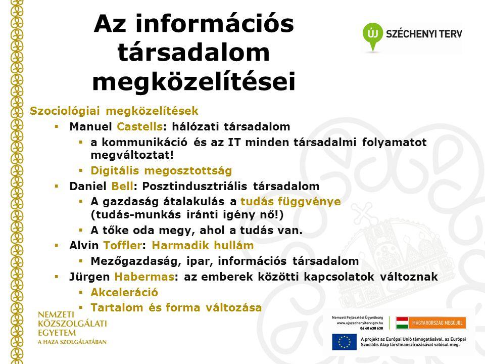 Szociológiai megközelítések  Manuel Castells: hálózati társadalom  a kommunikáció és az IT minden társadalmi folyamatot megváltoztat.