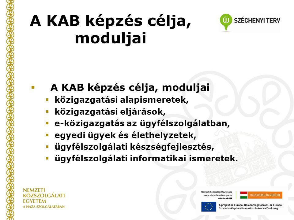  A KAB képzés célja, moduljai  közigazgatási alapismeretek,  közigazgatási eljárások,  e-közigazgatás az ügyfélszolgálatban,  egyedi ügyek és élethelyzetek,  ügyfélszolgálati készségfejlesztés,  ügyfélszolgálati informatikai ismeretek.