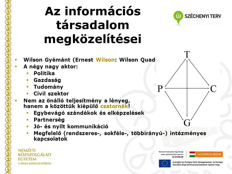  Wilson Gyémánt (Ernest Wilson: Wilson Quad)  A négy nagy aktor:  Politika  Gazdaság  Tudomány  Civil szektor  Nem az önálló teljesítmény a lényeg, hanem a közöttük kiépülő csatornák.