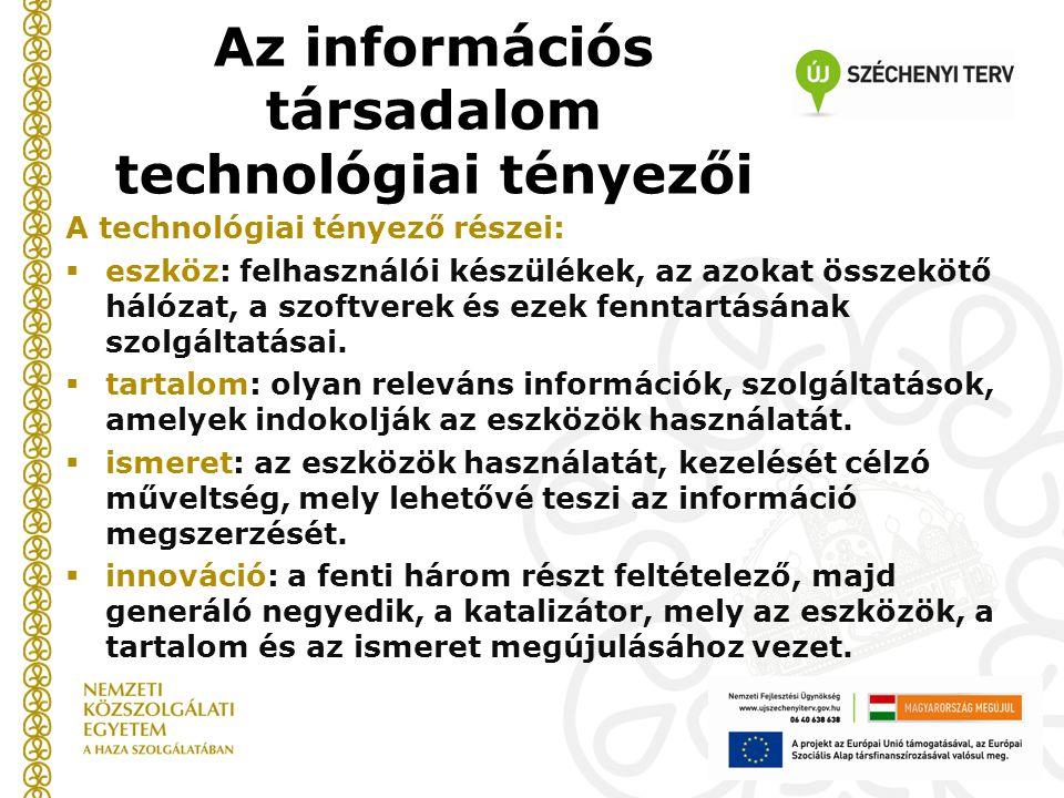 A technológiai tényező részei:  eszköz: felhasználói készülékek, az azokat összekötő hálózat, a szoftverek és ezek fenntartásának szolgáltatásai.