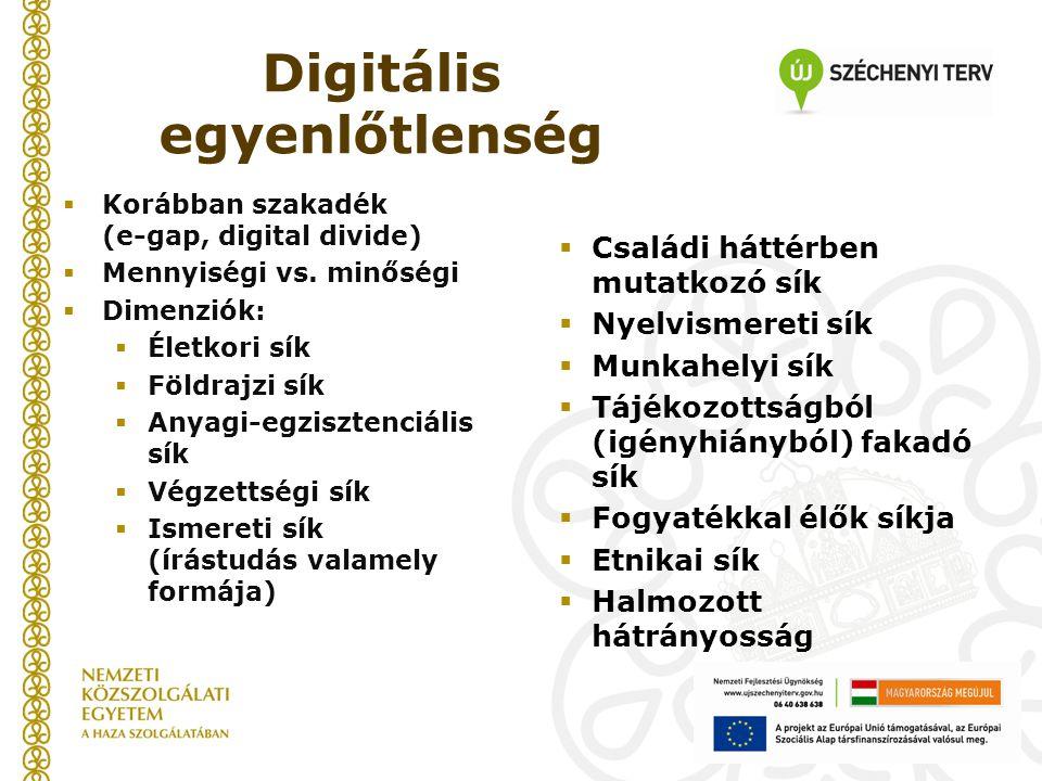 Digitális egyenlőtlenség  Korábban szakadék (e-gap, digital divide)  Mennyiségi vs.