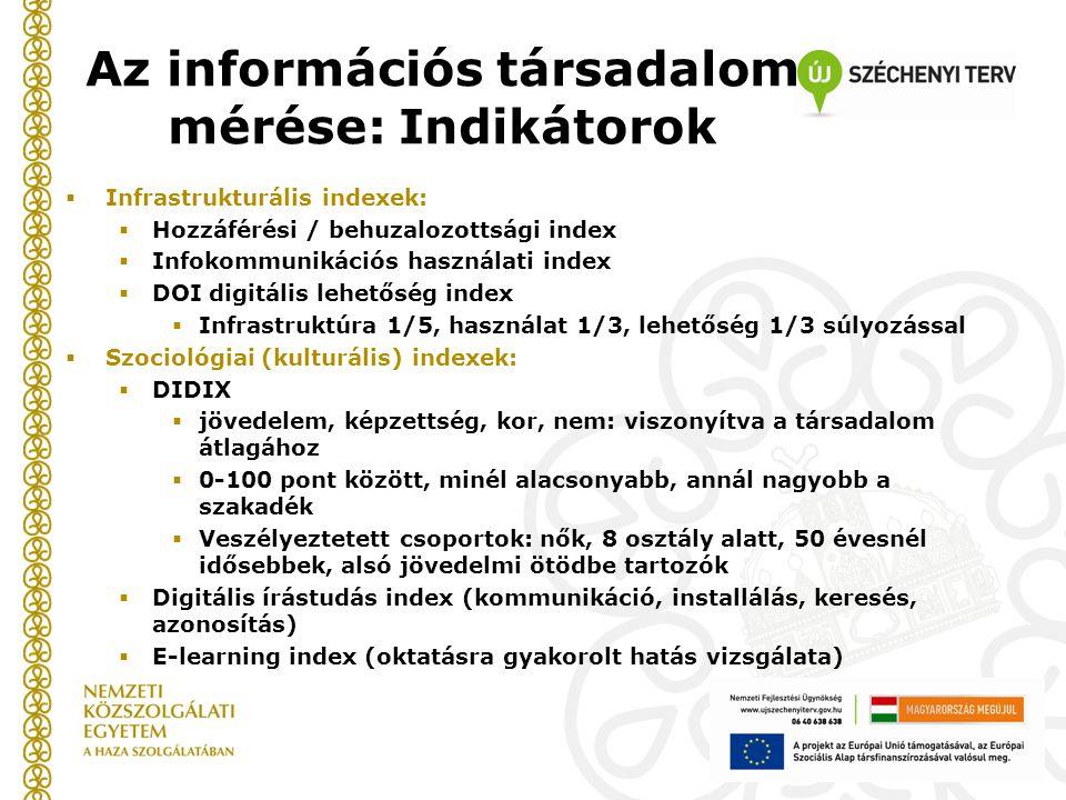 Az információs társadalom mérése: Indikátorok  Infrastrukturális indexek:  Hozzáférési / behuzalozottsági index  Infokommunikációs használati index  DOI digitális lehetőség index  Infrastruktúra 1/5, használat 1/3, lehetőség 1/3 súlyozással  Szociológiai (kulturális) indexek:  DIDIX  jövedelem, képzettség, kor, nem: viszonyítva a társadalom átlagához  0-100 pont között, minél alacsonyabb, annál nagyobb a szakadék  Veszélyeztetett csoportok: nők, 8 osztály alatt, 50 évesnél idősebbek, alsó jövedelmi ötödbe tartozók  Digitális írástudás index (kommunikáció, installálás, keresés, azonosítás)  E-learning index (oktatásra gyakorolt hatás vizsgálata)