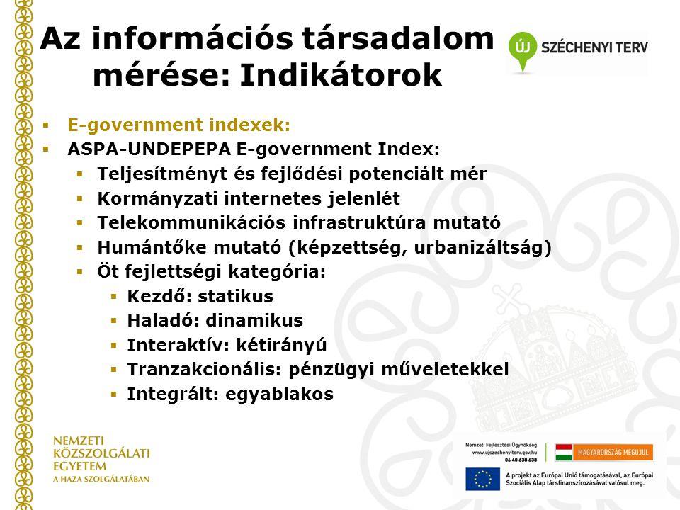 Az információs társadalom mérése: Indikátorok  E-government indexek:  ASPA-UNDEPEPA E-government Index:  Teljesítményt és fejlődési potenciált mér  Kormányzati internetes jelenlét  Telekommunikációs infrastruktúra mutató  Humántőke mutató (képzettség, urbanizáltság)  Öt fejlettségi kategória:  Kezdő: statikus  Haladó: dinamikus  Interaktív: kétirányú  Tranzakcionális: pénzügyi műveletekkel  Integrált: egyablakos
