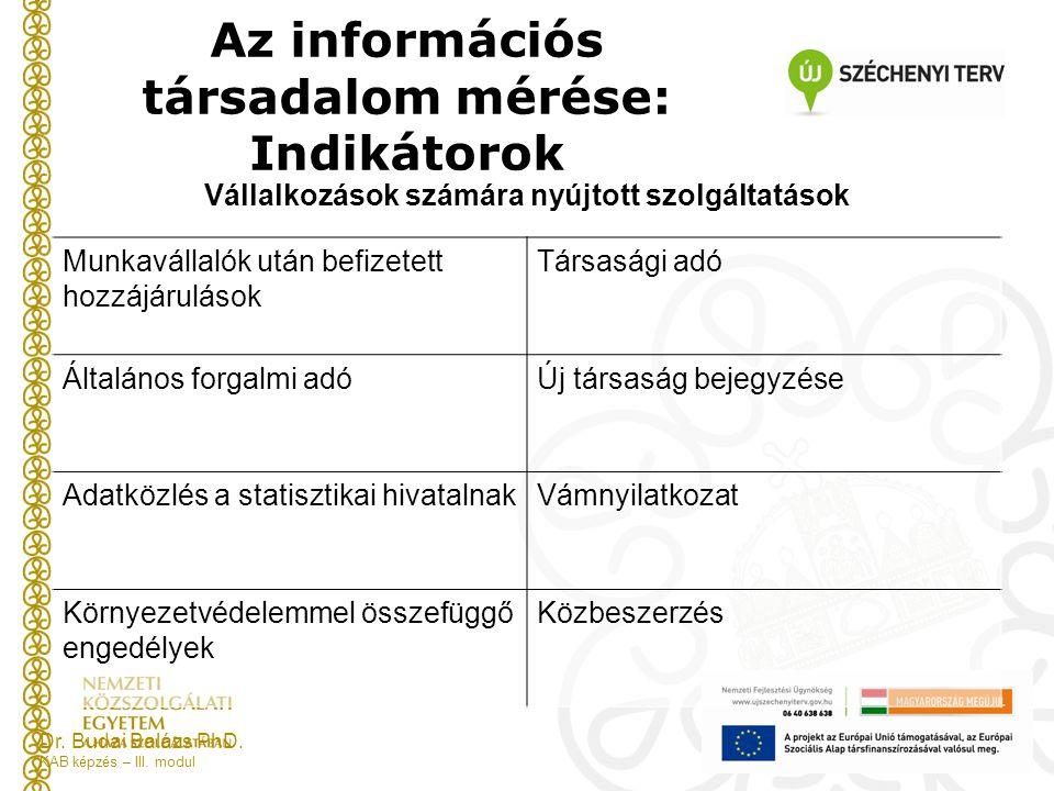 Az információs társadalom mérése: Indikátorok Dr.Budai Balázs PhD.