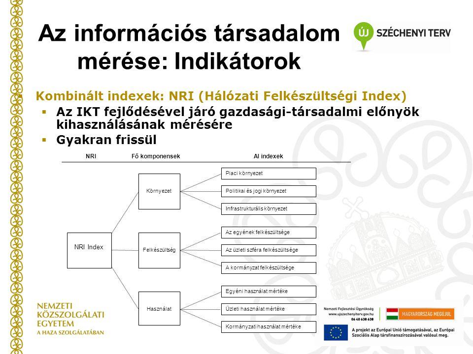  Kombinált indexek: NRI (Hálózati Felkészültségi Index)  Az IKT fejlődésével járó gazdasági-társadalmi előnyök kihasználásának mérésére  Gyakran frissül NRI Index Környezet Használat Piaci környezet Fő komponensek Felkészültség Politikai és jogi környezet Infrastrukturális környezet Egyéni használat mértéke Az üzleti szféra felkészültsége A kormányzat felkészültsége Az egyének felkészültsége Üzleti használat mértéke Kormányzati használat mértéke Al indexekNRI Az információs társadalom mérése: Indikátorok