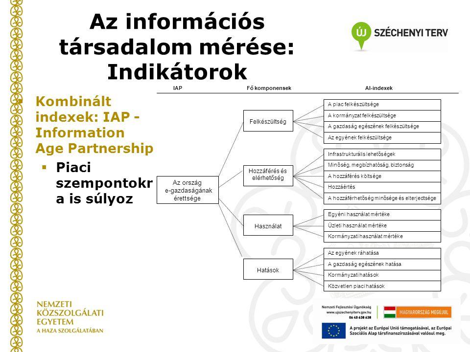  Kombinált indexek: IAP - Information Age Partnership  Piaci szempontokr a is súlyoz Az ország e-gazdaságának érettsége Felkészültség Használat A piac felkészültsége IAPAl-indexek Hozzáférés és elérhetőség A kormányzat felkészültsége A gazdaság egészének felkészültsége A hozzáférés költsége Infrastrukturális lehetőségek Minőség, megbízhatóság, biztonság Az egyének felkészültsége Hozzáértés A hozzáférhetőség minősége és elterjedtsége Egyéni használat mértéke Üzleti használat mértéke Kormányzati használat mértéke Az egyének ráhatása A gazdaság egészének hatása Kormányzati hatások Hatások Közvetlen piaci hatások Fő komponensek Az információs társadalom mérése: Indikátorok
