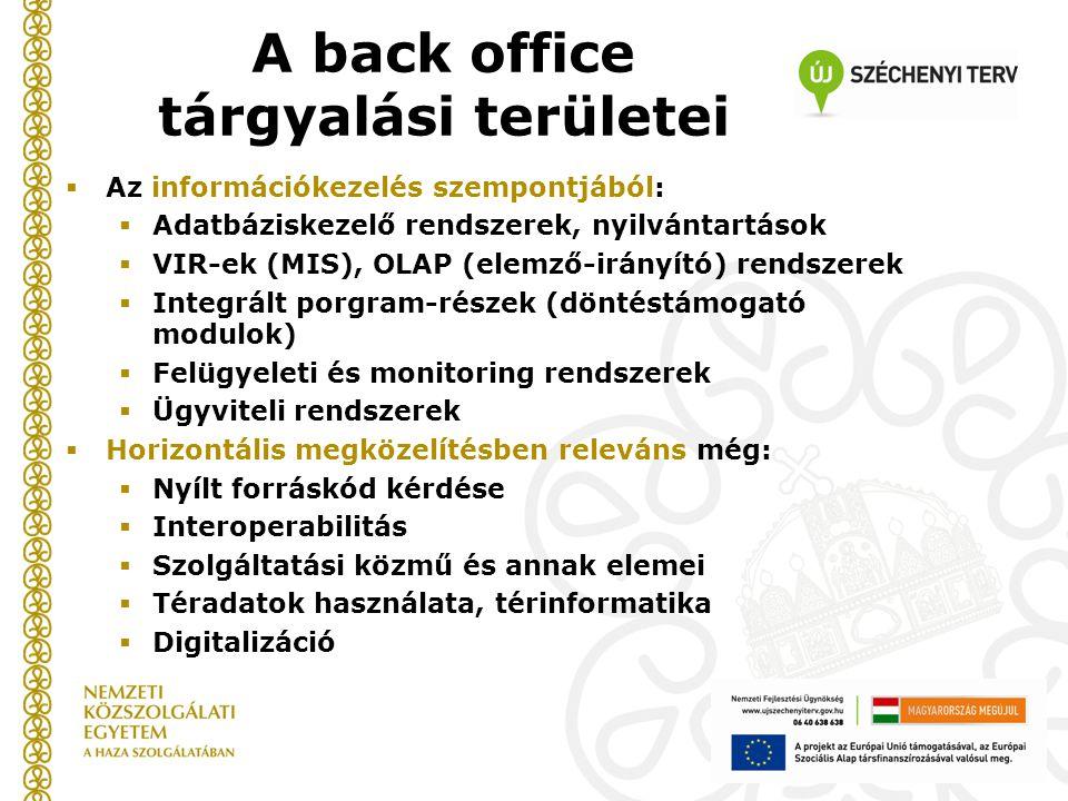 A back office tárgyalási területei  Az információkezelés szempontjából:  Adatbáziskezelő rendszerek, nyilvántartások  VIR-ek (MIS), OLAP (elemző-irányító) rendszerek  Integrált porgram-részek (döntéstámogató modulok)  Felügyeleti és monitoring rendszerek  Ügyviteli rendszerek  Horizontális megközelítésben releváns még:  Nyílt forráskód kérdése  Interoperabilitás  Szolgáltatási közmű és annak elemei  Téradatok használata, térinformatika  Digitalizáció