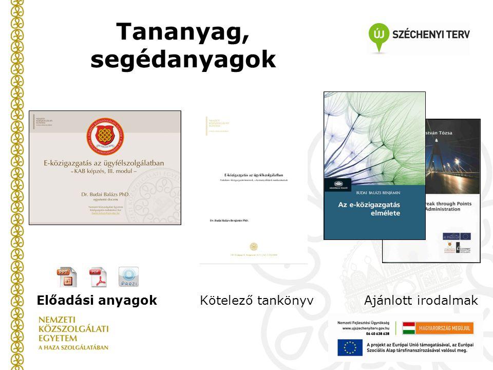 Tananyag, segédanyagok Előadási anyagokKötelező tankönyvAjánlott irodalmak