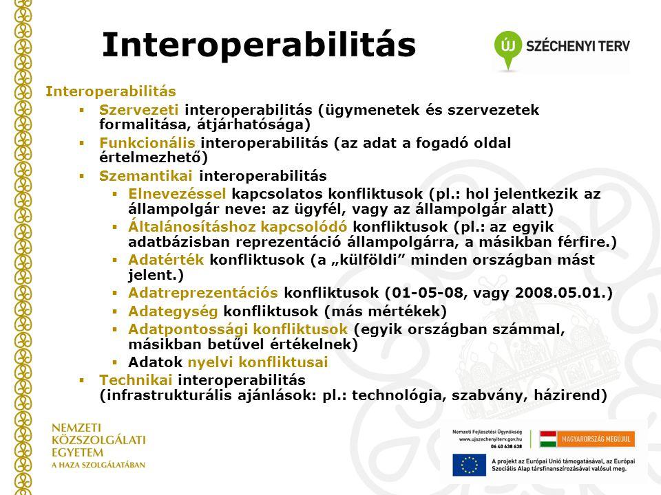 """Interoperabilitás  Szervezeti interoperabilitás (ügymenetek és szervezetek formalitása, átjárhatósága)  Funkcionális interoperabilitás (az adat a fogadó oldal értelmezhető)  Szemantikai interoperabilitás  Elnevezéssel kapcsolatos konfliktusok (pl.: hol jelentkezik az állampolgár neve: az ügyfél, vagy az állampolgár alatt)  Általánosításhoz kapcsolódó konfliktusok (pl.: az egyik adatbázisban reprezentáció állampolgárra, a másikban férfire.)  Adatérték konfliktusok (a """"külföldi minden országban mást jelent.)  Adatreprezentációs konfliktusok (01-05-08, vagy 2008.05.01.)  Adategység konfliktusok (más mértékek)  Adatpontossági konfliktusok (egyik országban számmal, másikban betűvel értékelnek)  Adatok nyelvi konfliktusai  Technikai interoperabilitás (infrastrukturális ajánlások: pl.: technológia, szabvány, házirend)"""