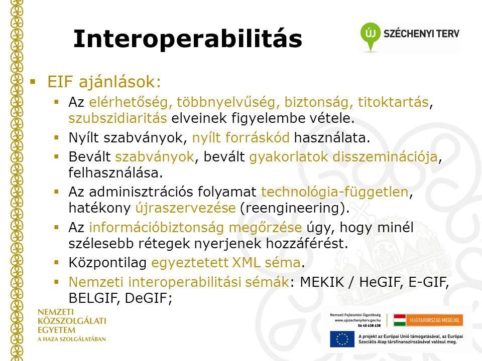  EIF ajánlások:  Az elérhetőség, többnyelvűség, biztonság, titoktartás, szubszidiaritás elveinek figyelembe vétele.