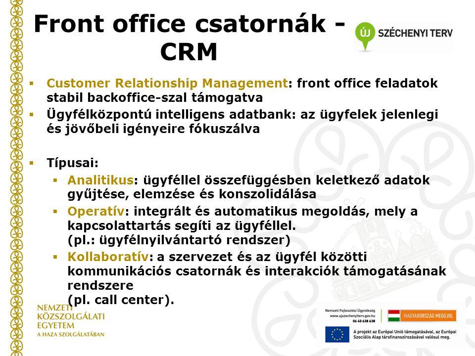 Front office csatornák - CRM  Customer Relationship Management: front office feladatok stabil backoffice-szal támogatva  Ügyfélközpontú intelligens adatbank: az ügyfelek jelenlegi és jövőbeli igényeire fókuszálva  Típusai:  Analitikus: ügyféllel összefüggésben keletkező adatok gyűjtése, elemzése és konszolidálása  Operatív: integrált és automatikus megoldás, mely a kapcsolattartás segíti az ügyféllel.