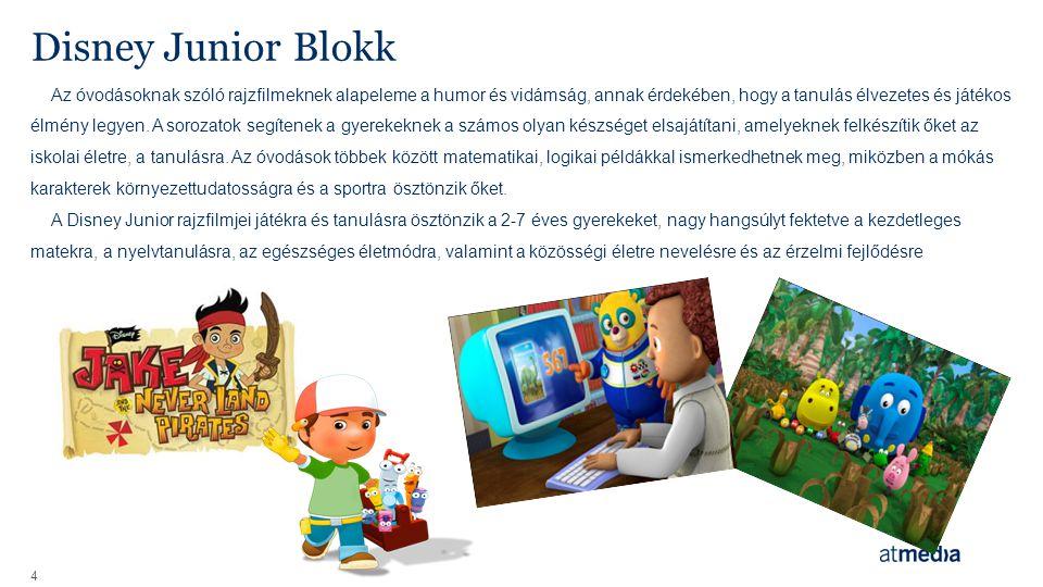 Disney Junior Blokk 4 Az óvodásoknak szóló rajzfilmeknek alapeleme a humor és vidámság, annak érdekében, hogy a tanulás élvezetes és játékos élmény legyen.