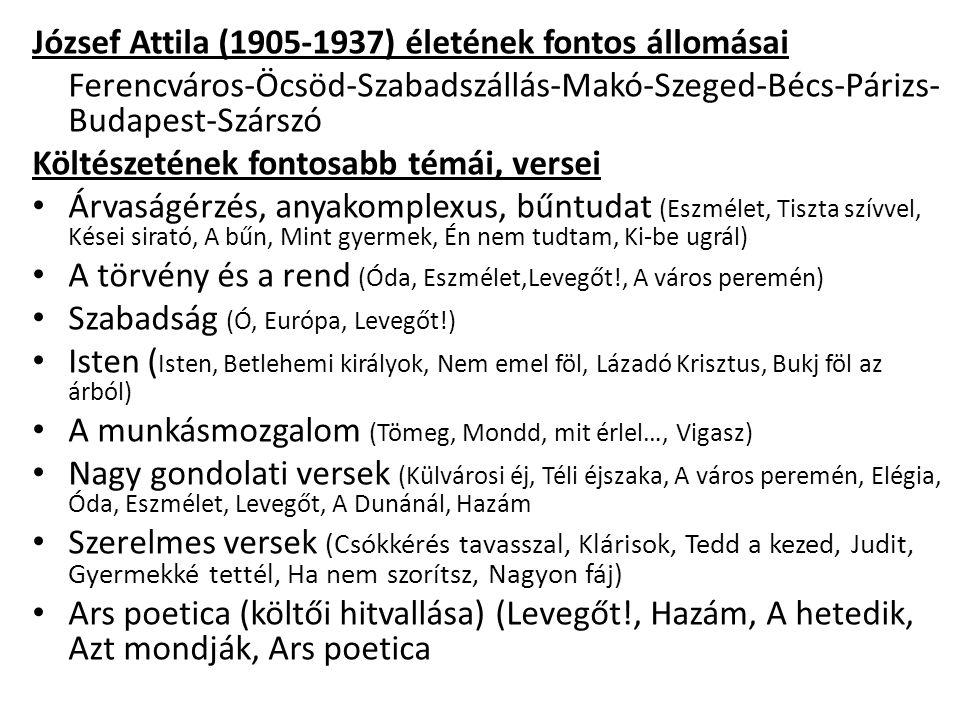 József Attila (1905-1937) életének fontos állomásai Ferencváros-Öcsöd-Szabadszállás-Makó-Szeged-Bécs-Párizs- Budapest-Szárszó Költészetének fontosabb