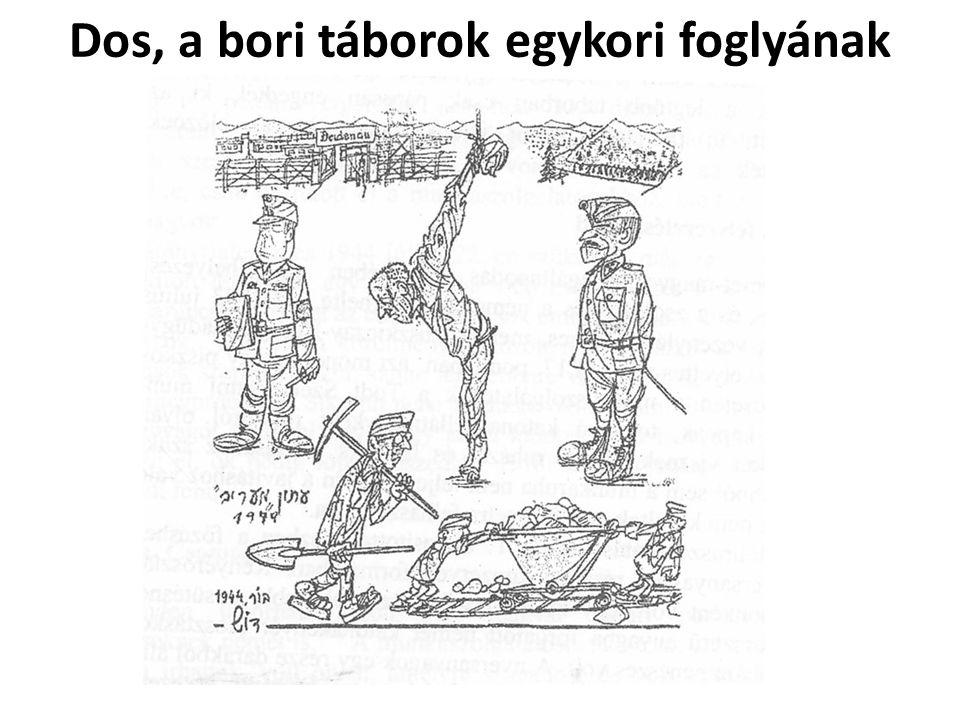 Dos, a bori táborok egykori foglyának karikatúrája