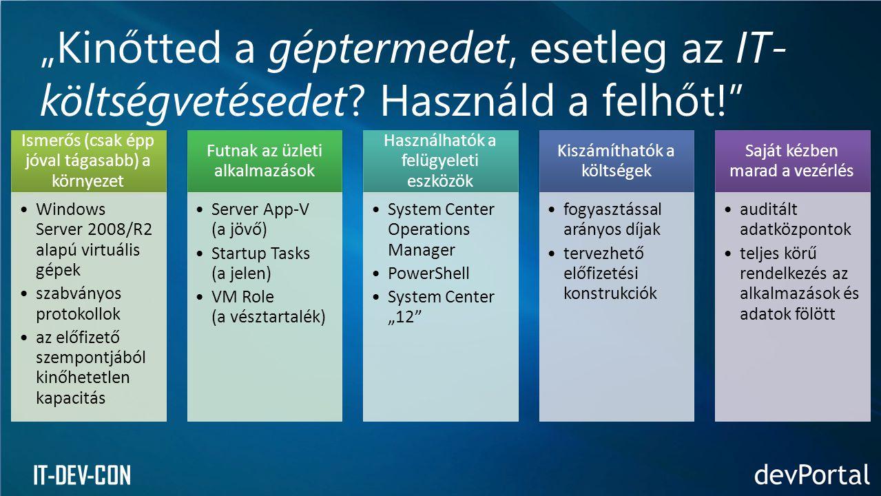 """IT-DEV-CON Ismerős (csak épp jóval tágasabb) a környezet •Windows Server 2008/R2 alapú virtuális gépek •szabványos protokollok •az előfizető szempontjából kinőhetetlen kapacitás Futnak az üzleti alkalmazások •Server App-V (a jövő) •Startup Tasks (a jelen) •VM Role (a vésztartalék) Használhatók a felügyeleti eszközök •System Center Operations Manager •PowerShell •System Center """"12 Kiszámíthatók a költségek •fogyasztással arányos díjak •tervezhető előfizetési konstrukciók Saját kézben marad a vezérlés •auditált adatközpontok •teljes körű rendelkezés az alkalmazások és adatok fölött """"Kinőtted a géptermedet, esetleg az IT- költségvetésedet."""
