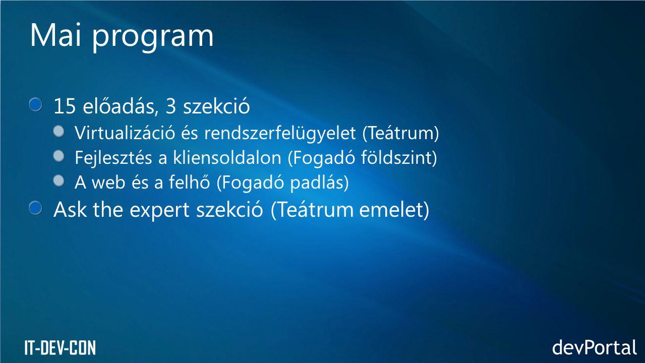 IT-DEV-CON 15 előadás, 3 szekció Virtualizáció és rendszerfelügyelet (Teátrum) Fejlesztés a kliensoldalon (Fogadó földszint) A web és a felhő (Fogadó padlás) Ask the expert szekció (Teátrum emelet) Mai program