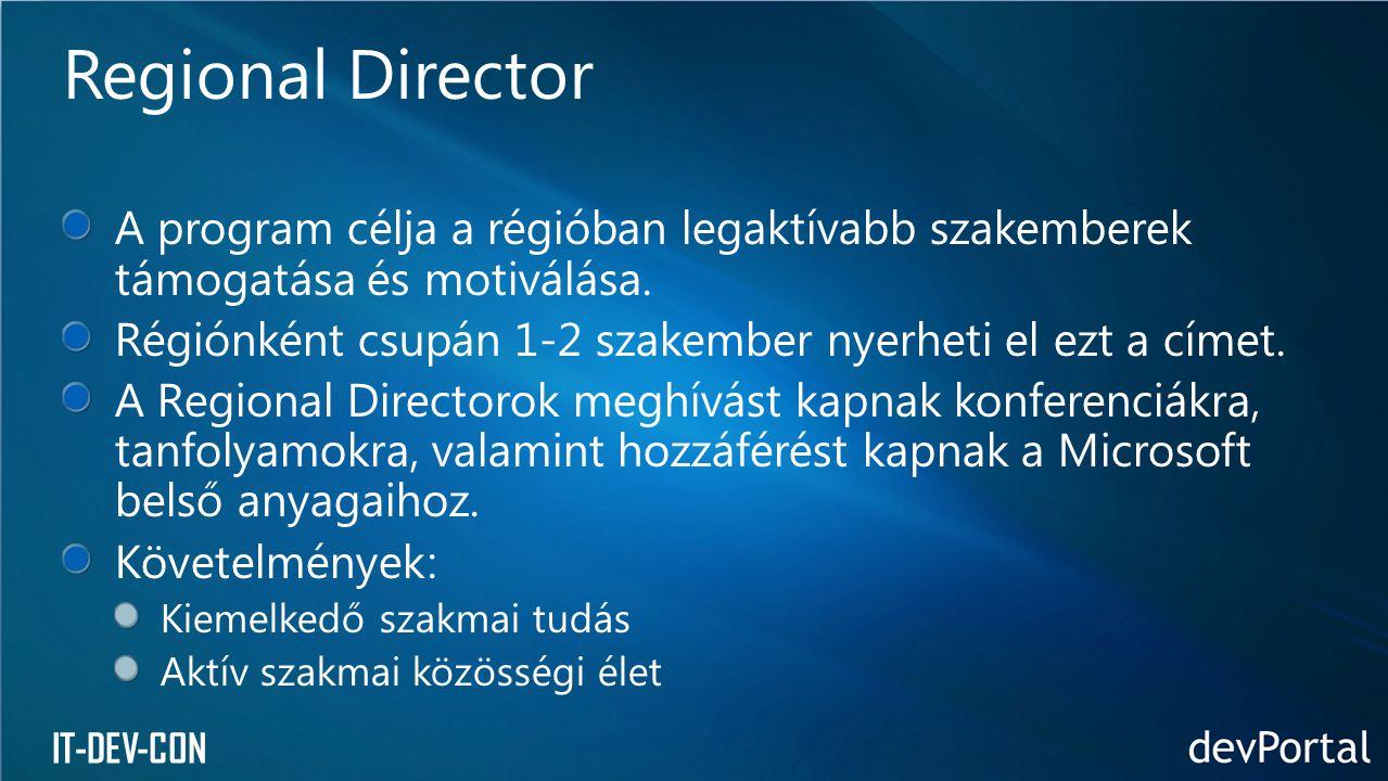 IT-DEV-CON A program célja a régióban legaktívabb szakemberek támogatása és motiválása.